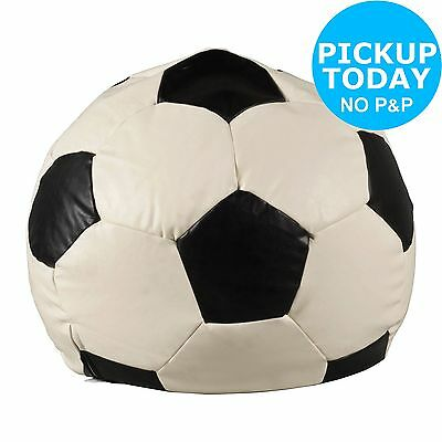 HOME Extra Large Leather Effect Football Beanbag - Black & White