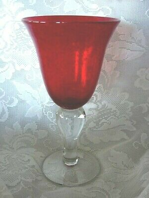 Collectible Ruby Red Blown Bubble Glass Water Goblet - Polished Pontil
