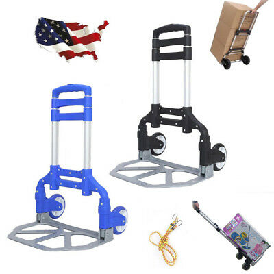 Adjustable Luggage Cart Folding Dolly Push Truck Hand Aluminium Trolley + Wheels