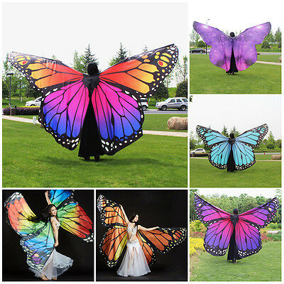 Women New 360 Degree Belly Dance Butterfly Wings Costume Fairy Dancing Accessory
