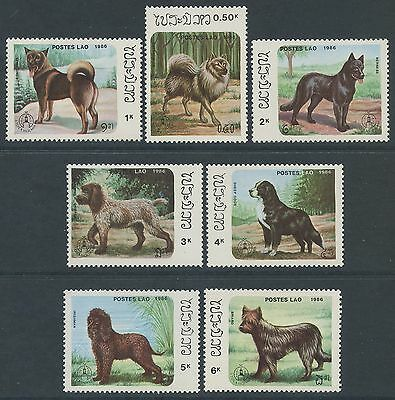 """LAOS N°736/742**  Chiens """"Stockhomia 86""""  1986 dogs Sc#737-743 MNH"""