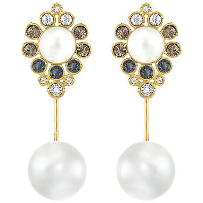 Swarovski Color Crystal Pearl Pierced Earrings EAST Gold Plated #5202165 New