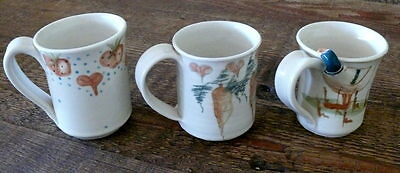 Lot Of 4 - 3 Mugs - 1 Creamer - Signed Margie Weinstein Pottery