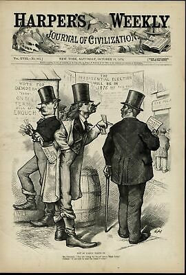 Presidential Election Grant Third Term Polls 1874 Nast old print for display