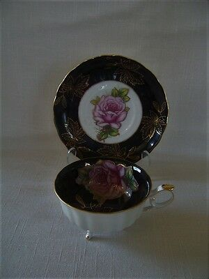 Vintage Royal Halsey L & M Cup & Saucer Stunning Black With Pink Rose Footed