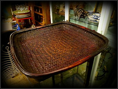 Vintage Mid 20th Century Huge Square Tray Basket South East Asian Hill Tribes