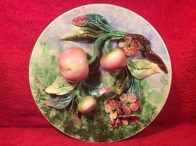 Beautiful Antique French Majolica Palissy Apples & Flowers Wall Plaque, fm1092