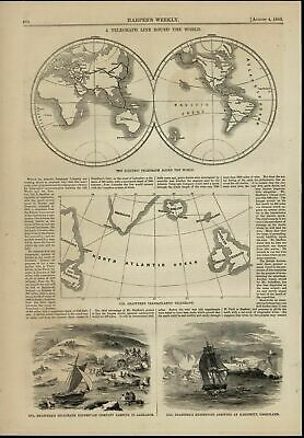 World Map Telegraph Line Expedition Sailboats 1860 great old print for display