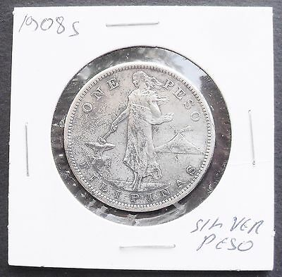 1908 S Philippines Peso, nice silver coin, VF -XF   ( 456 )