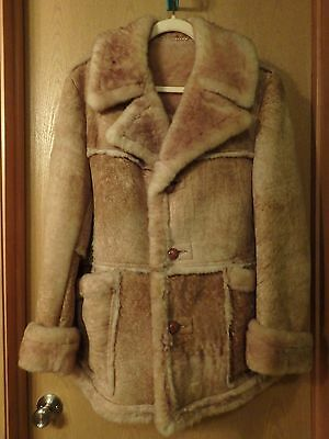Mens Woolrich 100% Wool Shearling Sheepskin Leather Mountain Man Coat Jacket 42
