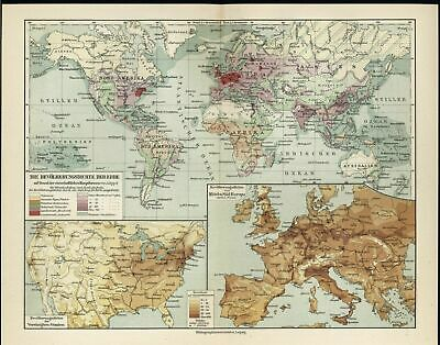 Population Density of the World USA & Europe c.1927 antique color lithograph map