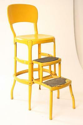 Vintage COSCO STEP STOOL chair yellow industrial metal folding mid century 60s