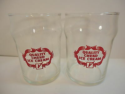 2 vintage Quality Chekd Ice Cream Advertising Drinking Glasses