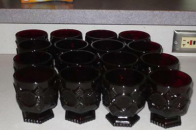 Set of 16 Avon 1876 Cape Cod Coll Ruby Red Glass Footed Glass/High ball glasses