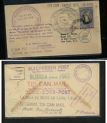 Tonga  tin can mail cover to New York  many  markings            KEL09131