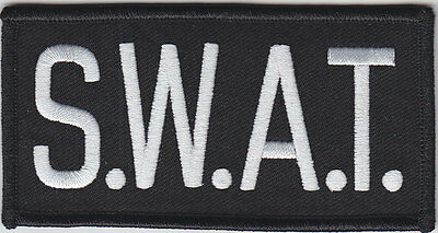 """S.W.A.T. White on Black Front Panel Patch 2"""" X 4"""" SWAT (police/sheriff)"""