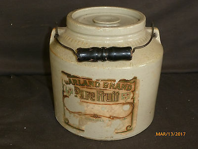 Antique Stoneware Pottery Crock with Bail Handle and Lid Fruit Label