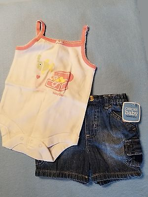NEW Baby GAP 1-piece White Top & Cherokee Blue Jean Shorts Size 6-12 months