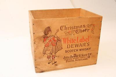 Vintage DEWAR'S SCOTCH WOOD CRATE shipping box whisky chest advertising SCOTLAND