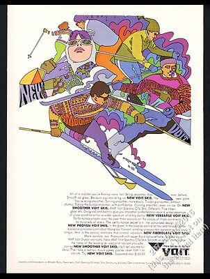 1968 AMF Voit skis psychedelic color skier skiing art vintage print ad