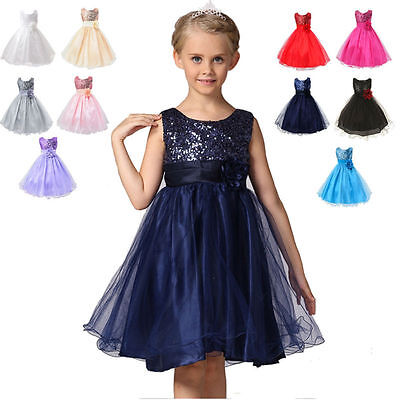 Girl Kids Sequins Princess Party Wedding Bridesmaid Flower Tulle Tutu Dress Gown