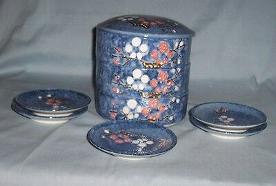 Chinese 3-TIERED CERAMIC TRINKET BOXES or Japanese STACKABLE BENTO Box& 5 Plates