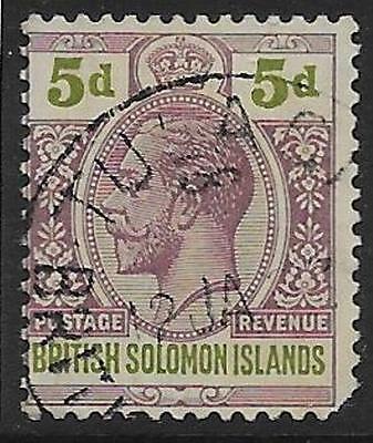 BRITISH SOLOMON IS. SG30 1914 5d DULL PURPLE & GREEN USED - BLUNT CNR