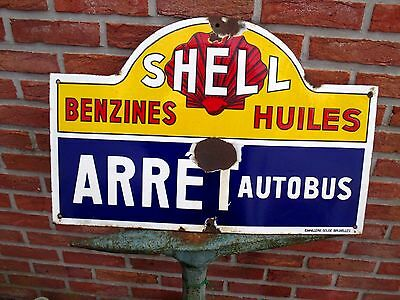 Vintage enamel porcelain sign Shell gasoline BUS Stop 1920s