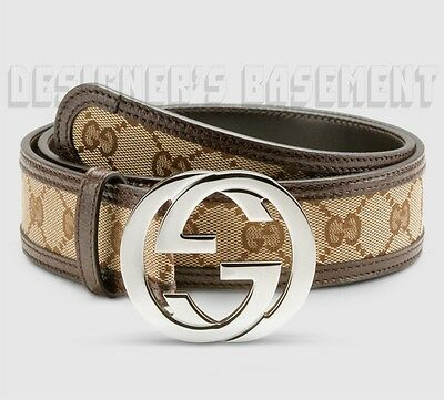 GUCCI brown leather beige GG canvas 46-115 INTERLOCKING G buckle belt NWT Authen