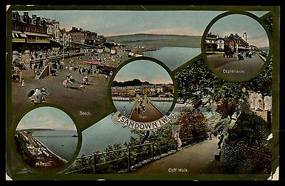 Sandown IW vintage multiview town colorful old postcard