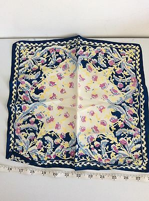 OLD RETRO VINTAGE fine PRETTY FLORAL blue lilac yellow FLOWER SILK HANDKERCHIEF