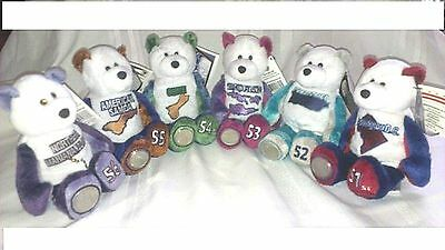 All 6 USA Territory Quarter bears - Coin bears numbered 51 - 56
