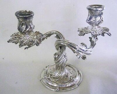 Rare Pair Of Christofle Candle Holders Rocaille Pattern Elegant