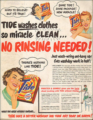 1950 vintage AD TIDE LAUNDRY SOAP Classic 50s Happy Housewives  052116