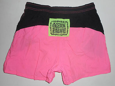 Vtg 80s OP Swim Trunks * HOT PINK * Ocean Pacific Nylon SURF Shorts NEW Mens MD
