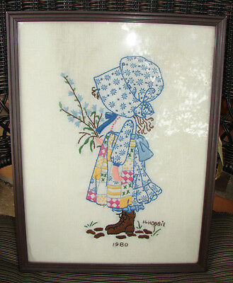"Holly Hobbie ""1980"" Vintage Embroidered Wall Hanging In Frame *beautiful*"