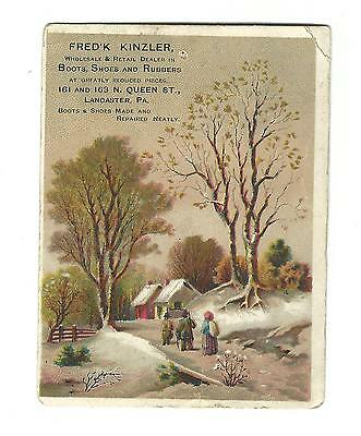 Old Trade Card Frederick Kinzler Boots Shoes Rubbers Lancaster PA Winter Scene