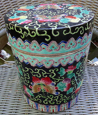 Chinese Famille Rose Porcelain Black Butterfly Covered Tea Caddy Tobacco Jar