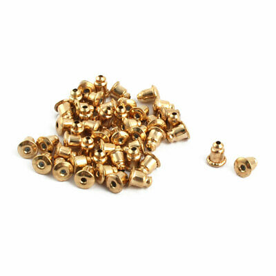 Women Metal Earring Backs Clasps Stoppers Accessory Gold Tone 40pcs
