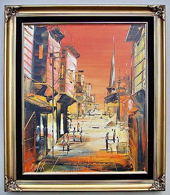 A.Odeh Street scene Framed oil painting