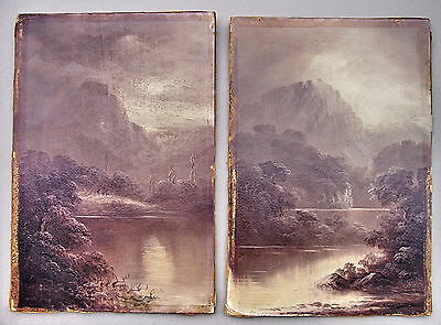 Chas Young Oak Mountains pair of Oil Painting