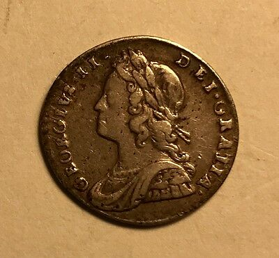 Great Britain - George II - 2 Pence - 1729 - Twopence - 1/2 Groat Silver Coin