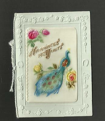 Vintage Greeting Card ~ Christmas Greetings ~ Peacock On Celluloid