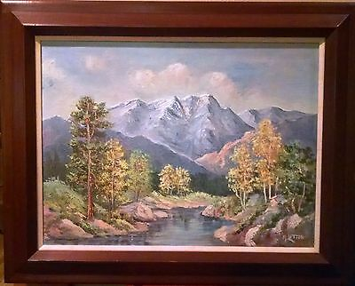 MARIAN LETTON 1894-1975 Original Painting on Canvas Mountain Landscape Framed