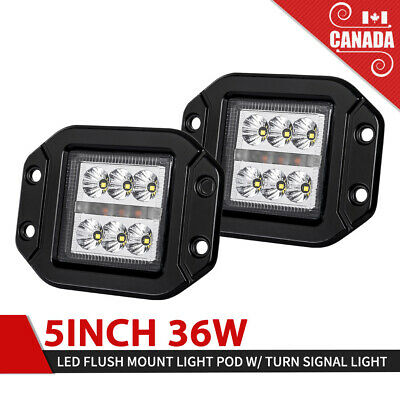2x 5Inch Flush Mount 36W LED Work Light FLOOD CREE 4WD Trailer Truck SUV UTE 4""