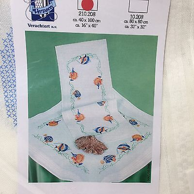 Vervaco Rooster Fish Table Runner 16 x 40 Stamped Cross Stitch Verachtert 210208