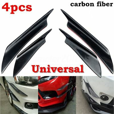 4X Universal Carbon Fiber Car Front Bumper Fins Body Spoiler Canards For BMW VW