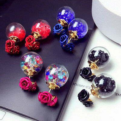 Korean Fashion Women's Double Sides Rose Crystal Ball Ear Stud Earrings Gift