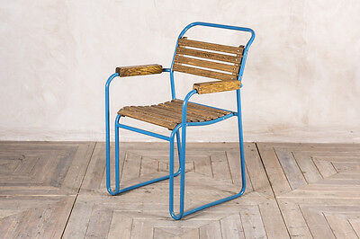 Slatted Carver Chair Vintage Stacking Metal Armchair Restaurant Chair With Arms