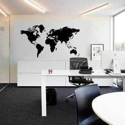 Large World Map Removable Vinyl Decal Mural Home Decor Office Wall Sticker
